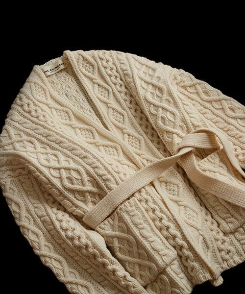 Aran Cable Belted Wrap Cardigan