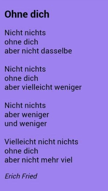 Ohne Dich - Erich Fried