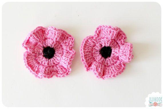 Crochet lot de 2 coquelicots roses Appliqué par Jijihook sur Etsy