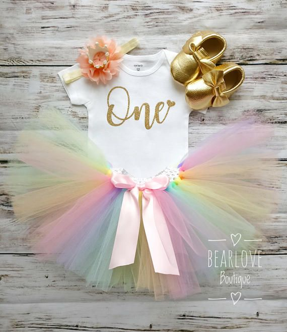 Pastel Rainbow Birthday Outfit First Birthday Outfit