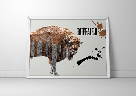 Buffalo Print Rustic Wall Decor Animal Prints Digital by ENORASIS