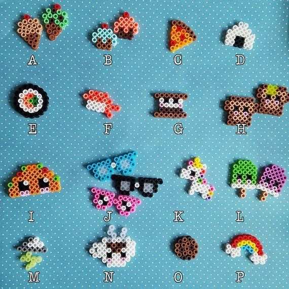 Kawaii Cute Tiny Miniature Food Unicorn Nerdy Rainbow Perler Beads Magnet, Necklace, Keychain, Hair