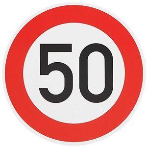 ORIGINAL Verkehrszeichen 50 Verkehrsschild Straßenschild Schild Geburtstagschild