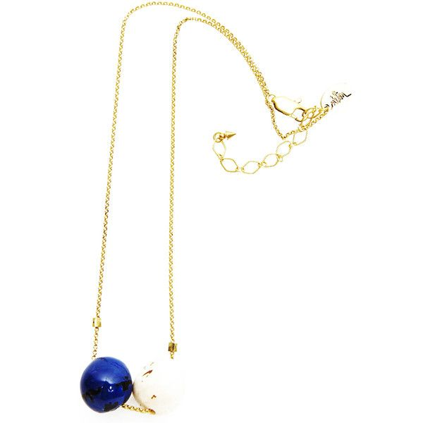 Madame Melon Amazona Semiprecious Stones and Gold Chaine Choker... ($41) ❤ liked on Polyvore featuring jewelry, navy blue, gold jewelry, 24k gold jewelry, gold chain pendant, 24k jewelry and chains jewelry