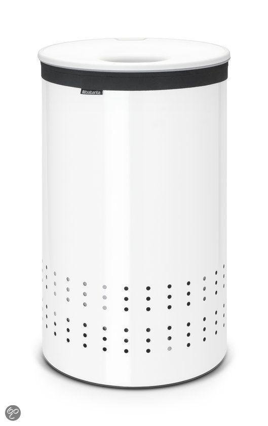Brabantia Wasmand Wasbox met uitneembare waszak - Rond - 50 liter - Wit met Witte kunststof deksel