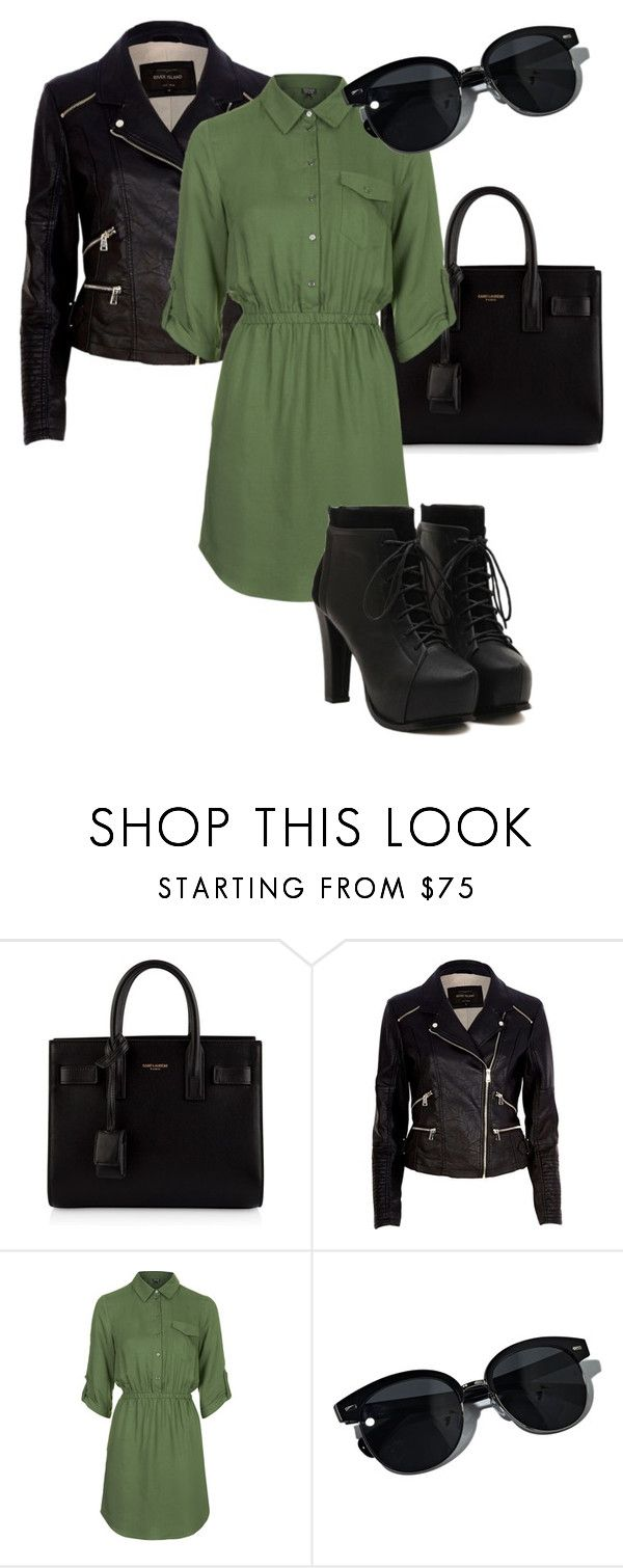 """""""I Just Wanna Know"""" by mina-xoxo ❤ liked on Polyvore featuring Yves Saint Laurent, River Island, Topshop and Oliver Peoples"""
