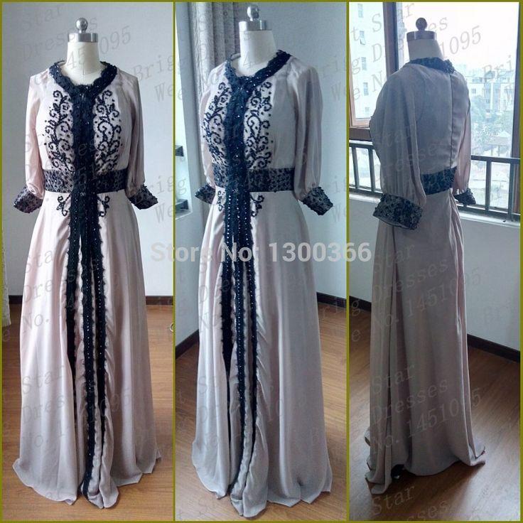 Real Picture V Neck Appliuqed Lace Beaded Long Sleeve Chiffon Black caftan marocain dubai evening Gows muslim prom dresses