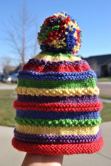 Knit Rainbow Marley hat; Susan B. Anderson pattern