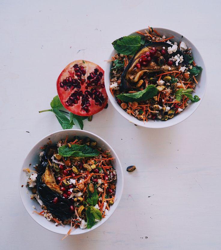 Eggplant salad with mint, parsley, carrots, feta, pomegranate and pistacchio// everythingwithpumpkin  Auberginesalade met munt, granaatappel, feta, pistache en wortel// everythingwithpumpkin