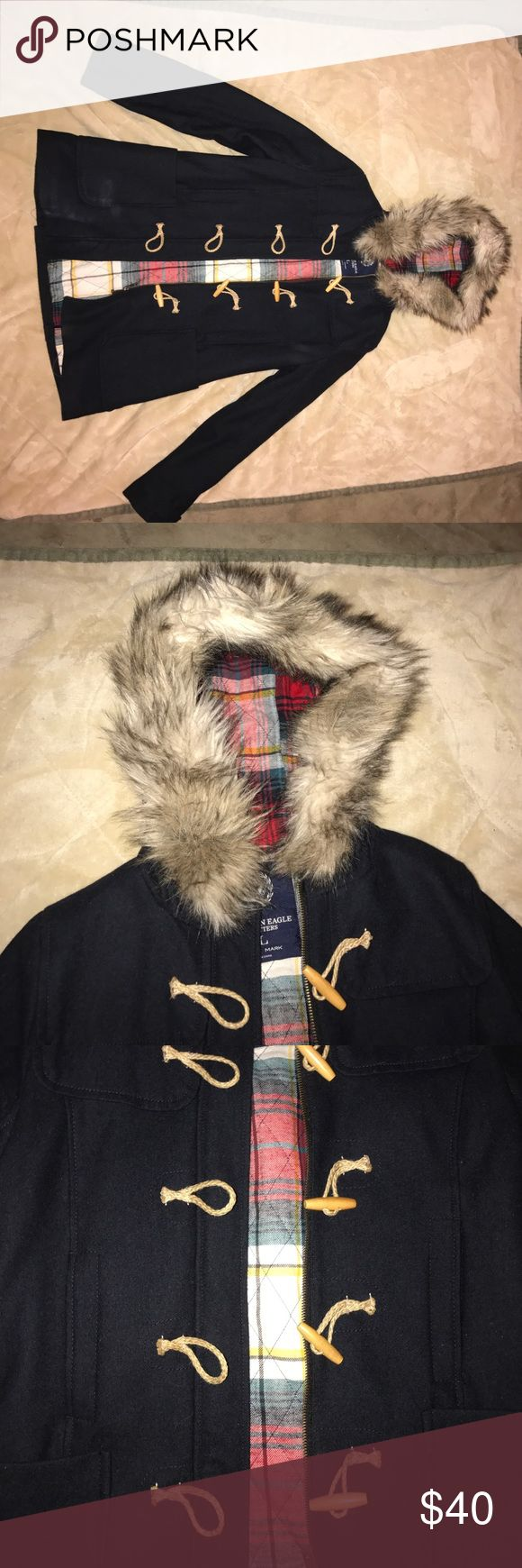 American Eagle Jacket Adorable, navy blue and plaid, fur hooded jacket. Gently worn. Perfect for every day use! American Eagle Outfitters Jackets & Coats
