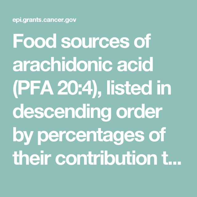 Food sources of arachidonic acid (PFA 20:4), listed in descending order by percentages of their contribution to intake, based on data from the National Health and Nutrition Examination Survey 2005-2006