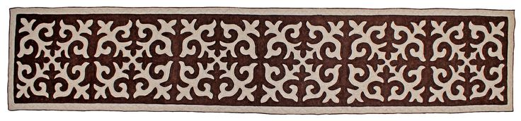 Shyrdak runner rug from Felt in neutral brown and cream 0.8m x 3.85m feltrugs.co.uk