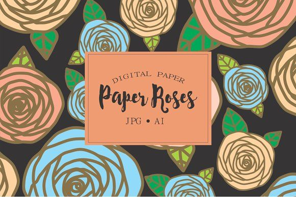 Floral Patterns, paper rose by Kiwi Fruit Punch on @creativemarket