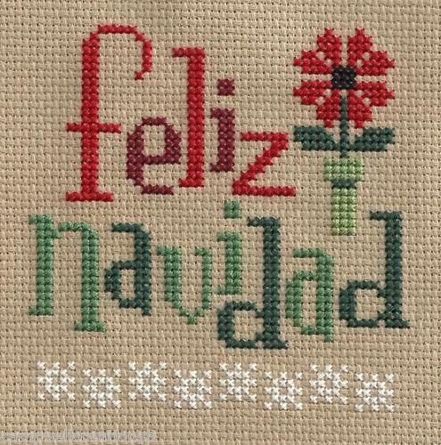 finished completed cross stitch LIZZIE KATE feliz navidad spanish PREORDER