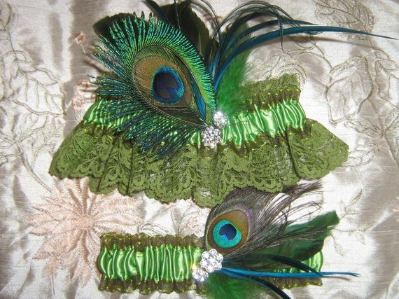 Irish Wedding Garter Set With Green Lace Peacock Eye And Feathers Ultimate