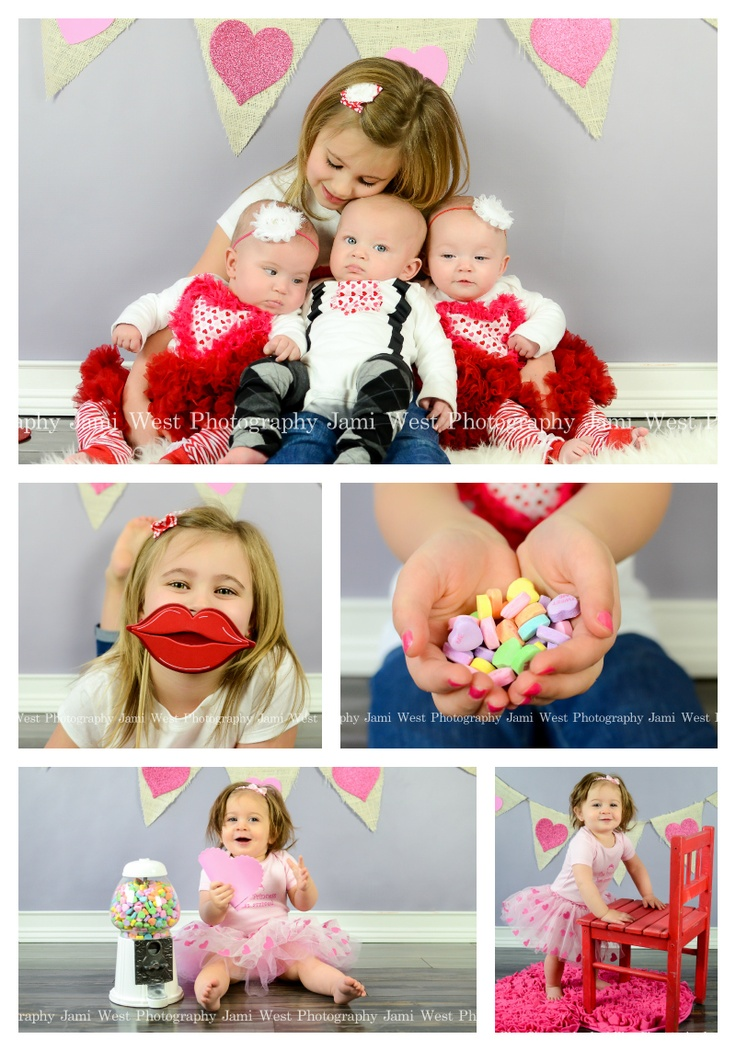 Cute valentines day child kid baby in studio photography session triplets jami west photography