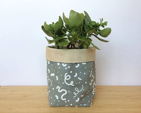 Hand Printed Pot Plant Holder Original Fabric Design
