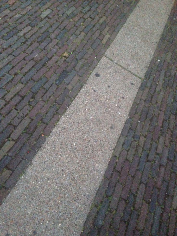 Lange stroken beton (uitgewassen grind) gecombineerd met gebakken klinkers. Locatie Amsterdam Westergasfabriek.