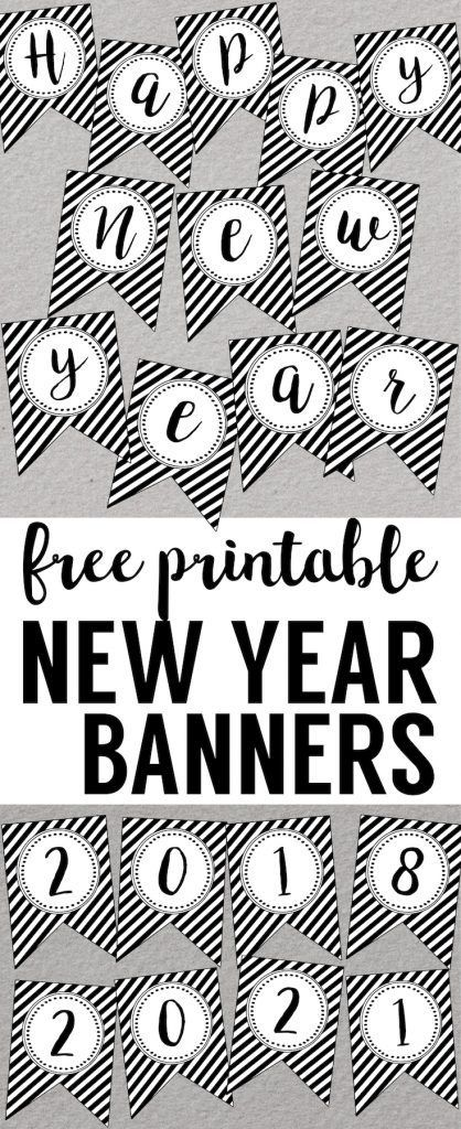 happy new year banner printable easy diy for your new years party decor simple elegant black and white new years decorations