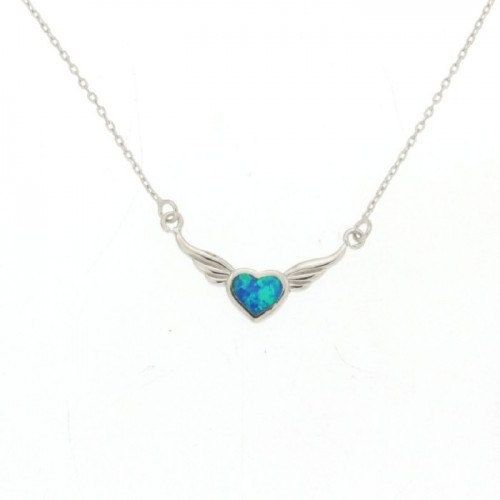 Greek Jewelry Flying Heart Blue Opal Necklace by ThetisTreasures