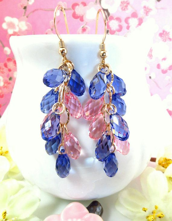 Pink and purple Swarovski chandelier earrings pink by KBlossoms, $93.00