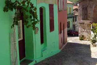 A colourful street in Agiasos