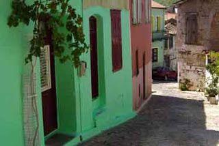 A colourful street in Agiasos