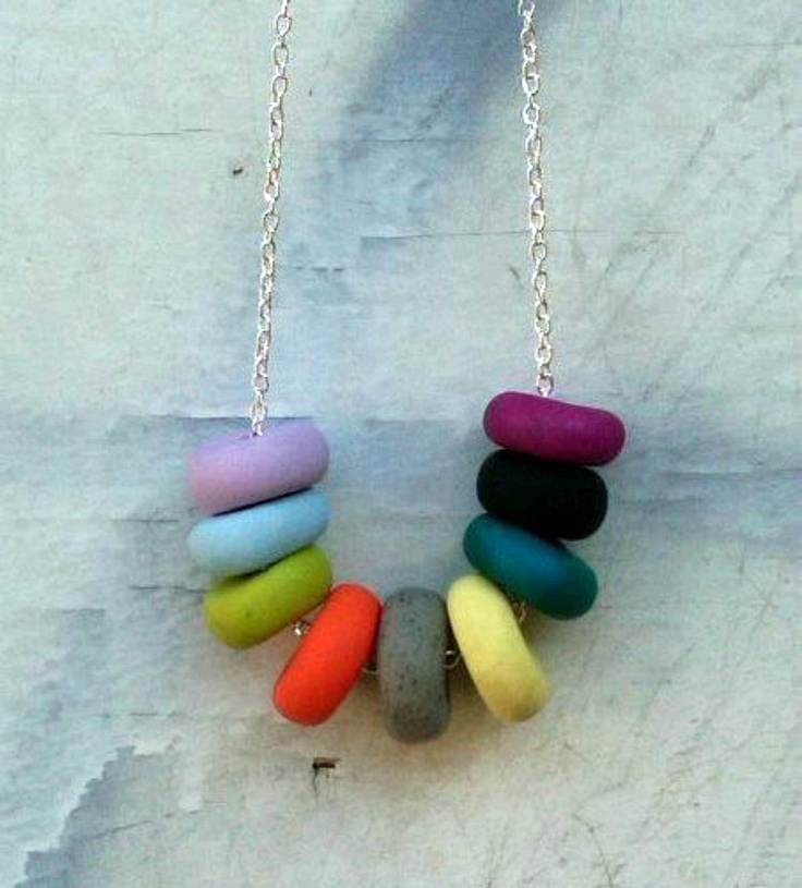 Indio handmade polymer clay necklace multicolored by SaraFeiss