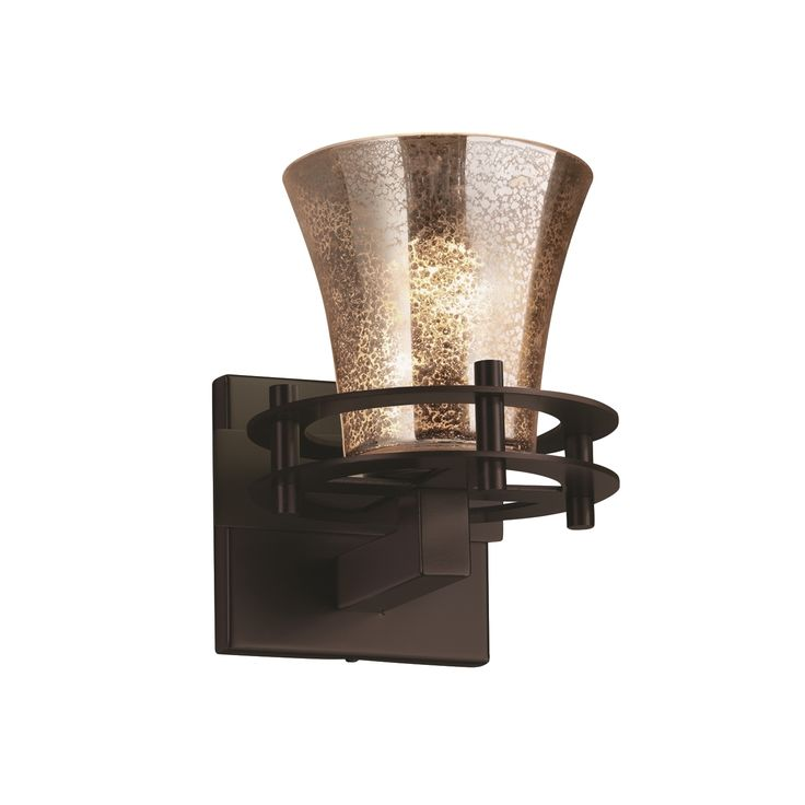 The Circa 1-light Wall Sconce comes in a dark bronze finish and mercury glass shade. The Fusion Wall Sconce is made of metal and artisan glass.