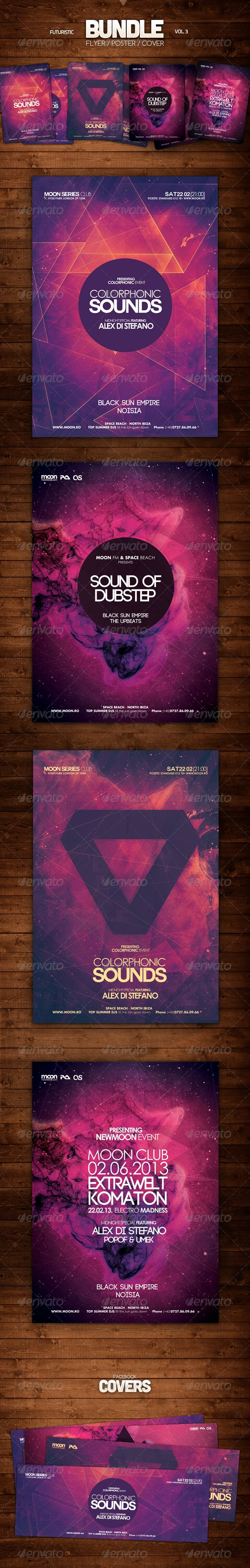 Futuristic Bundle Vol 3  #GraphicRiver         Futuristic Bundle Vol 3 – This bundle of flyers / posters can be used to promote an electronic music event or any techno event. The perfect futuristic flyers and templates for your party. These flyer templates have a light and colorful style almost psyhedelic, were you can center a title or just focus on the event's details. You can save 30% with this Futuristic Bundle of flyers and posters and you get their facebook covers.  This Bundle Contains: g
