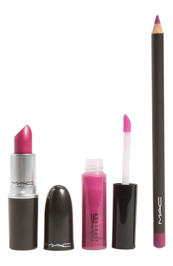 This M·A·C lip kit with a trio of monochromatic, fuchsia products helps achieve the perfect bold lip.