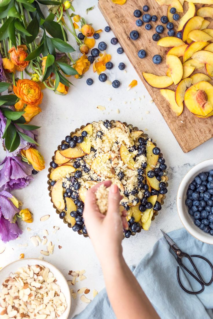 Can't wait to make this! This easy Almond Peach Blueberry Crumble Slices recipe is perfect for summer entertaining. Make sure to wait to make this recipe until peaches are in peak season.