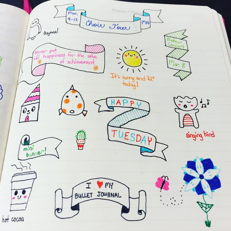Tuesday in my #bulletjournal! #bujo #doodles #banners #TheRevisionGuide_HowTo @therevisionguide