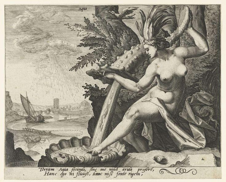 anoniem   Het element water, attributed to Jacob de Gheyn (II), 1588 - 1592   Voorstelling van het element water in de vorm van een naakte vrouw met een bladertooi op het hoofd, die water uit een grote hoornachtige schelp in een andere schelp giet. Op de achtergrond een boot op het water en een aantal vissers met netten in de weer aan een strand. Bovenin de voorstelling het woord 'Aqua' (water). Onder de voorstelling twee regels tekst in Latijn. Deze prent is onderdeel van een serie van de…