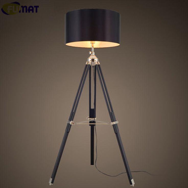 ==> [Free Shipping] Buy Best FUMAT Tripod Floor Lamp European Retro Wood Standing Lamp Black Fabric Shade Floor Light Designer Floor Lamp for Livign Room Online with LOWEST Price | 32582703080