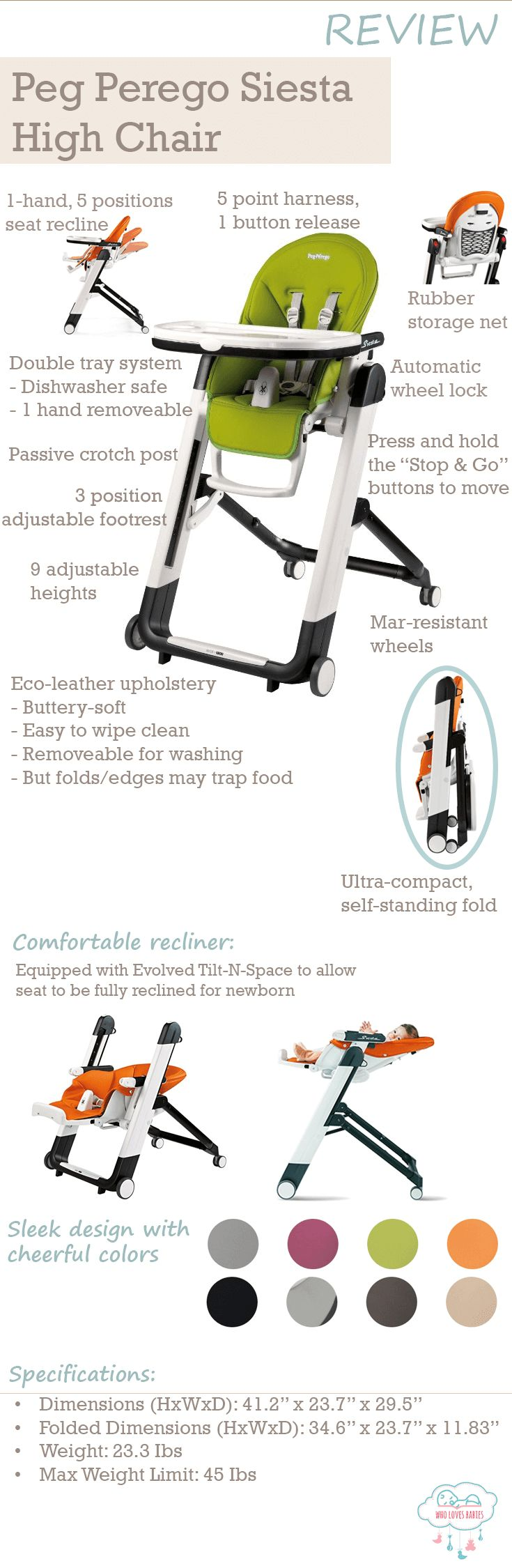 Peg Perego Siesta High Chair Review - Are you looking for a baby high chair? If space constraint is a concern, you'll like this as it is ultra-compact and self-standing when folded. It is also highly adjustable with 5 reclining seat positions, 9 height positions and 3 footrest positions. Though it's relatively simple to use, it is still full of buttons and triggers. Read on for more Pros and Cons of the Peg Perego Siesta High Chair to decide if this is the right one for you and your baby.