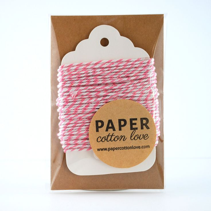 Beautiful thick cotton twine in Candy Floss Pink and White. Perfect for gift wrapping. Ideal for scrapbooking and craft projects.