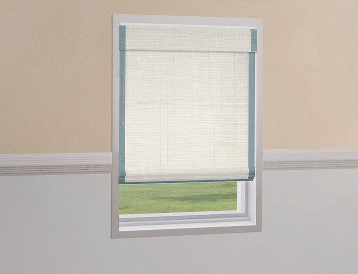 Natural woven flat fold shades mekong white 2 1 2 inch for Natural woven flat fold shades