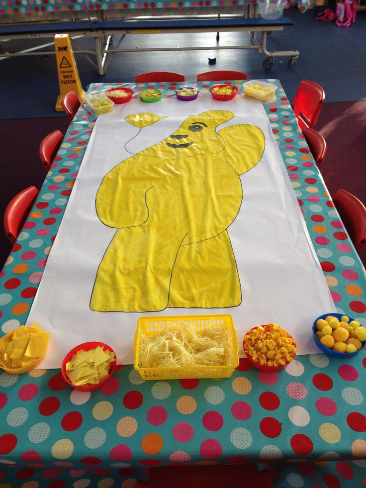 Children in need Pudsey bear! Kids use different materials to stick on/decorate him.