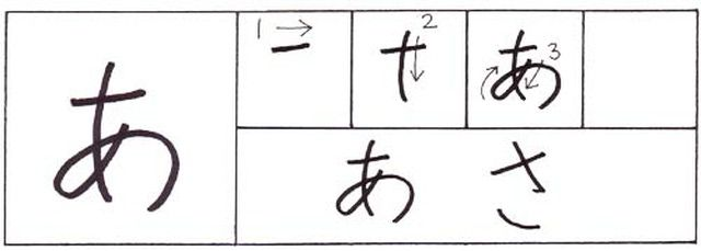 How to write hiragana: a, i, u, e, o -  あ、い、う、え、お: How to write hiragana: a あ