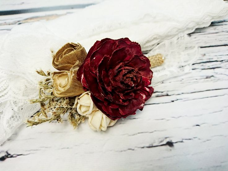 Cream brown burgundy rustic wedding Rustic BOUTONNIERE / CORSAGE groom groomsman, Sola Flower cedar rose dried limonium Wedding Flowers - pinned by pin4etsy.com