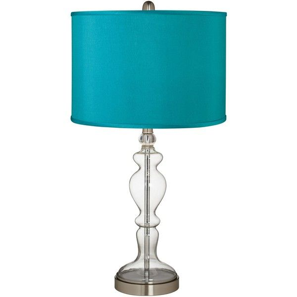 Universal Lighting and Decor Teal Blue Faux Silk Apothecary Clear... ($100) ❤ liked on Polyvore featuring home, lighting, table lamps, lamps, blue, teal lampshade, teal lamp, teal lamp shade, blue table lamp and blue lights