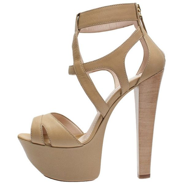 Gianmarco Lorenzi Platform Sandal (63.045 RUB) ❤ liked on Polyvore featuring shoes, sandals, heels, strappy sandals, strappy platform sandals, black strappy sandals, strappy heeled sandals and beige strappy sandals