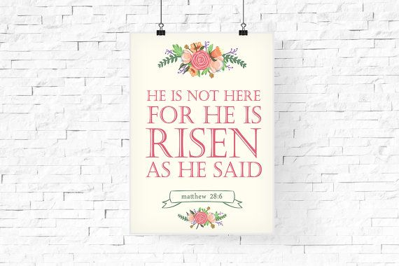 He is risen printable  Easter Printable  Easter by FPD3sign