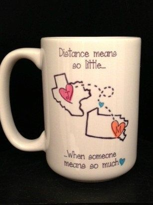 STATE to STATE Long Distance Mug - 2 States - 2 Names - Color and Quote