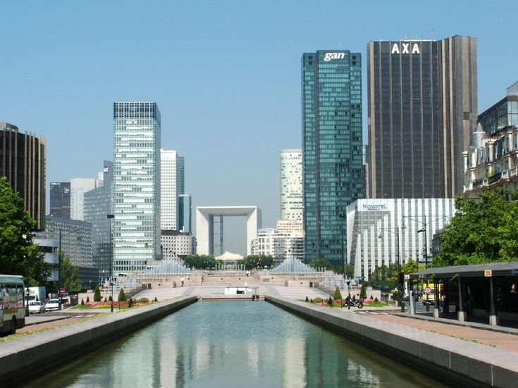 View over the La Défense business district from the Esplanade de la Défense. You can observe the Grande Arche in the center as well as the Gan and AXA towers to the right. Nice area to work in right?