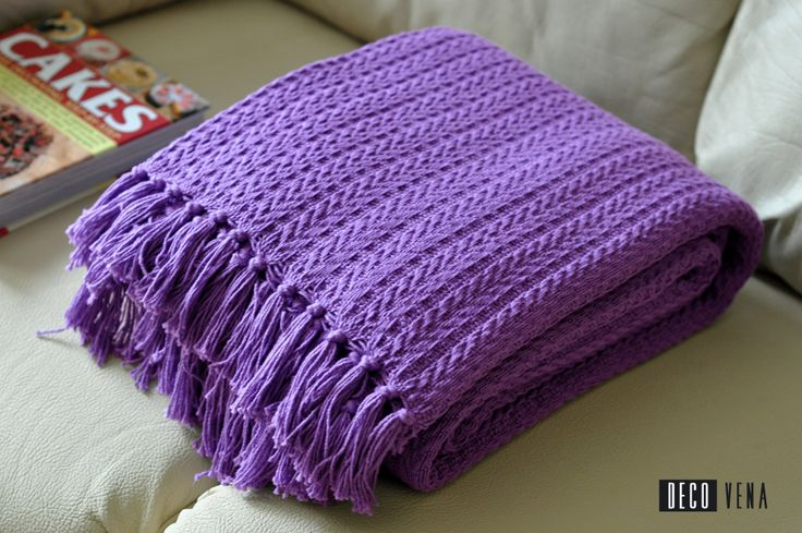 Woven cotton throw / blanket purple