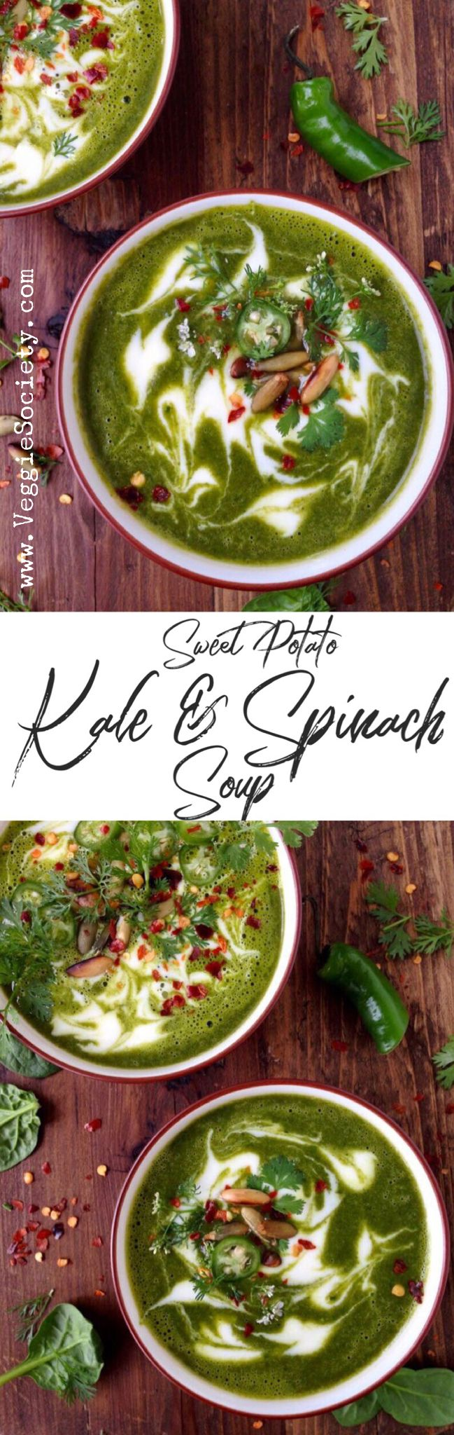 Creamy Kale Sweet Potato Soup Recipe with Spinach and Coconut Milk | VeggieSociety.com #vegan #plantbased #soup