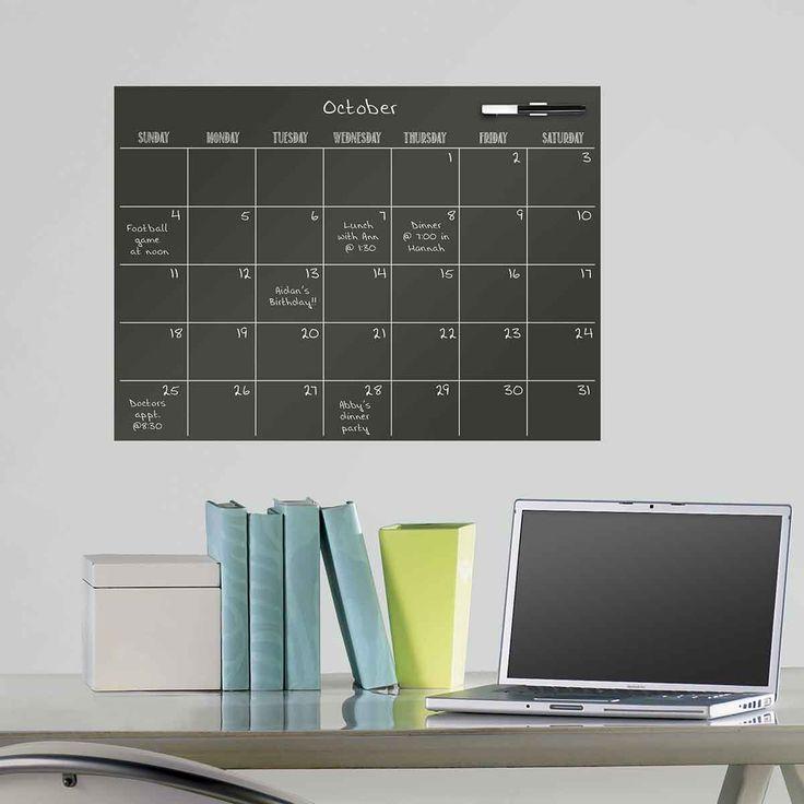 Feuille adhésive noire avec planning mensuel