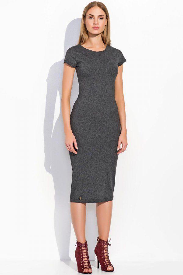 Sukienka dresowa do kolan klasyczny krój krótki rękaw grafitowa